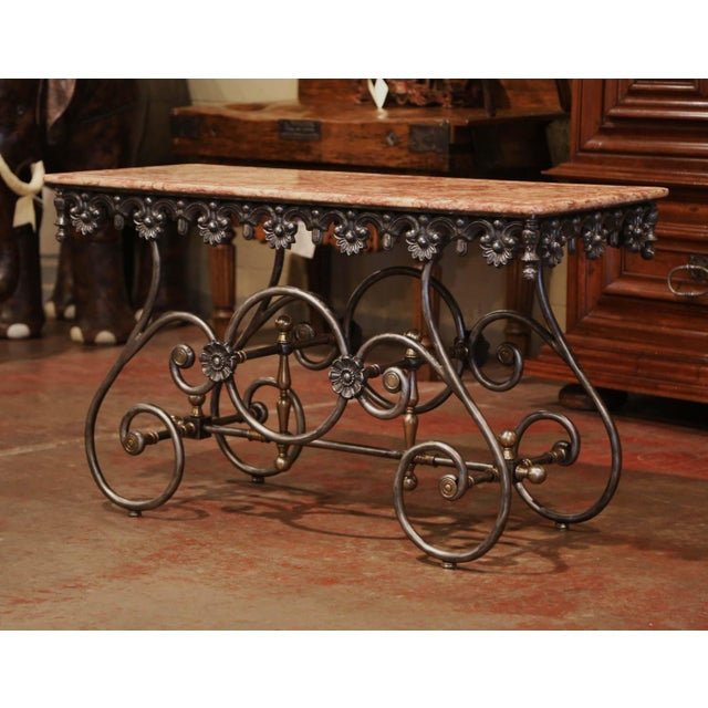 Late 20th Century French Polished Iron Pastry Table With Red Marble Top For Sale - Image 9 of 11