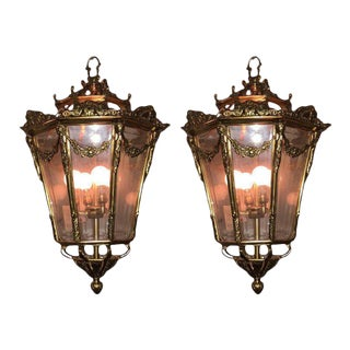 Mid 20th Century Antique Bronze and Glass Lanterns - a Pair For Sale