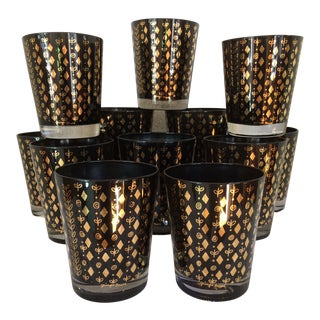 Mid-Century Modern Georges Briard Black With Gold Diamond & Leaf Double Old Fashion Glasses - Set of 12