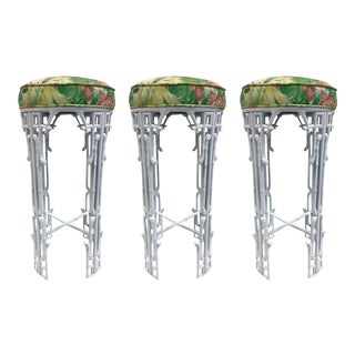 Three Hollywood Regency Faux Bamboo Bar Stools For Sale