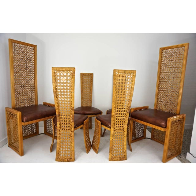 French Italian Rattan Dining Chairs With French Caning by Vivai Del Sud - Set of 8 For Sale - Image 3 of 11