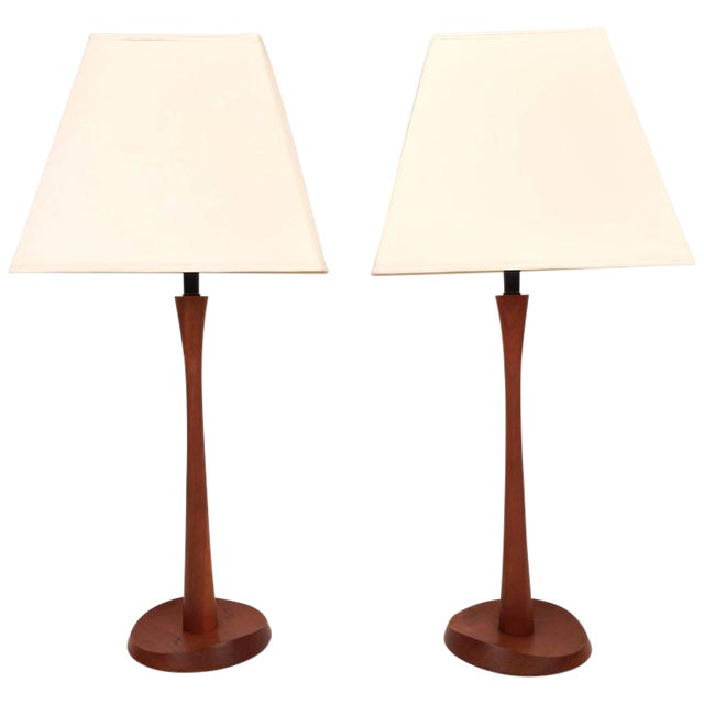 Mid-Century Modern Teak Table Lamps - A Pair - Image 1 of 6