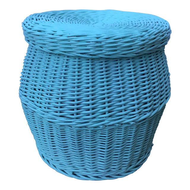 Vintage Turquoise Lidded Wicker Basket - Image 1 of 10