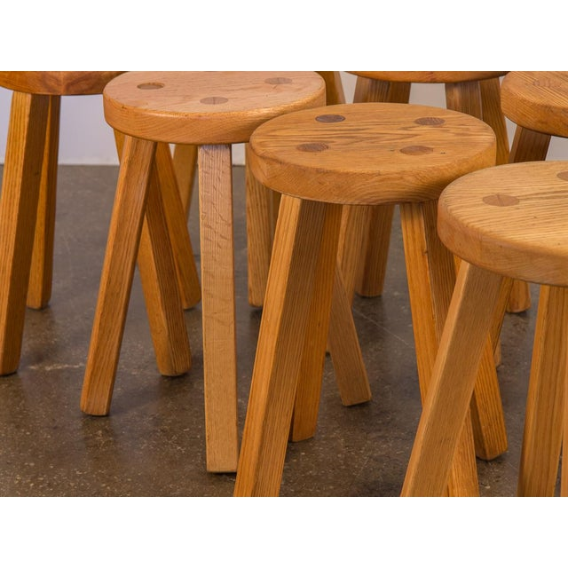 Vintage American Craft Oak Stools For Sale In New York - Image 6 of 7
