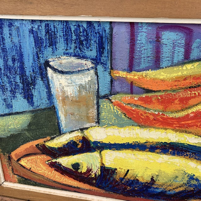 1960s Luckner Lazard Colorful Still Life Painting 1964 For Sale - Image 5 of 9