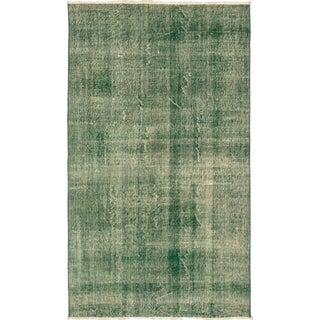 Vintage Mid-Century Turkish Green Rug - 4′10″ × 8′5″ For Sale