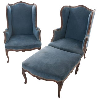 French 19th Century Louis XV Pair of Bergères With Ottoman
