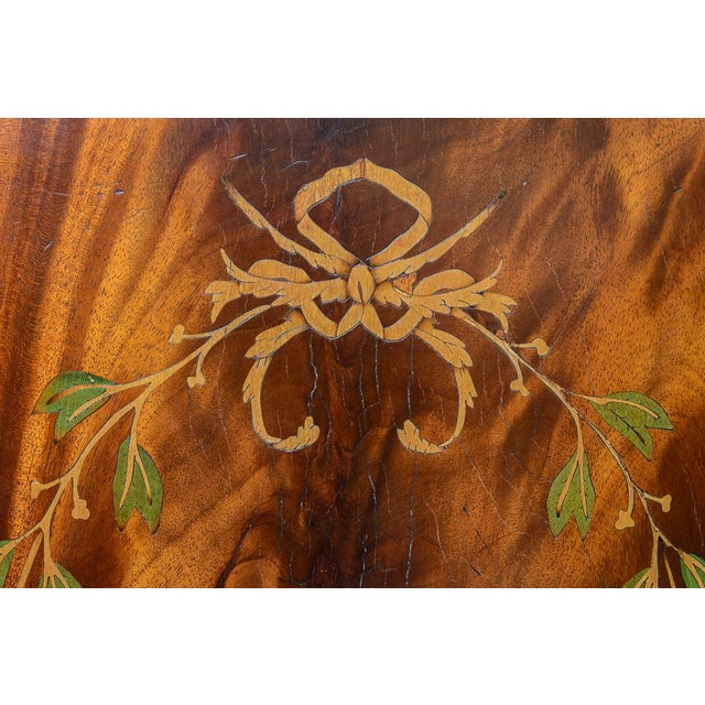 Regency Style Pair of Inlaid Wood Cabinets With Blown Glass Doors For Sale - Image 12 of 13