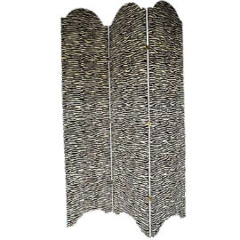 Zebra-Print Upholstered Screen For Sale