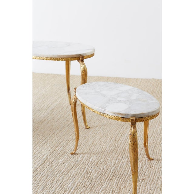Nest of Italian Doré Bronze and Marble Drink Tables For Sale - Image 11 of 13