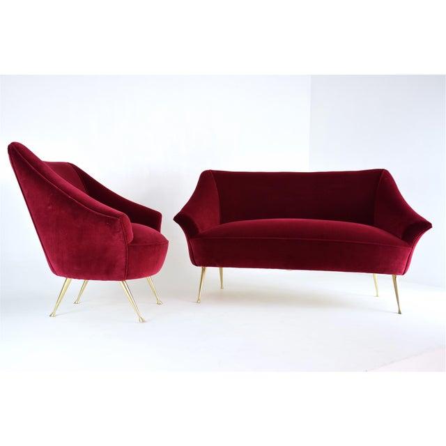 Metal Italian Midcentury Velvet Sofa in the Manner of Ico Parisi, 1950s For Sale - Image 7 of 13