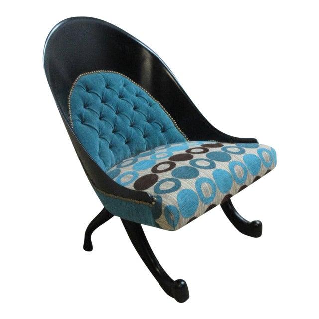 Hollywood Regency Style Modern Scoop Back Fireside Lounge Club Chair For Sale