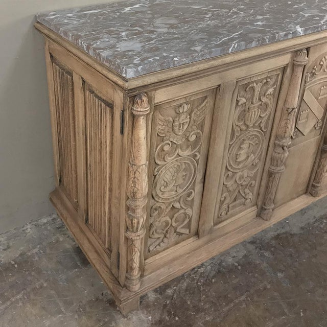 Late 19th Century 19th Century Stripped Renaissance Revival Low Buffet With Marble Top For Sale - Image 5 of 13