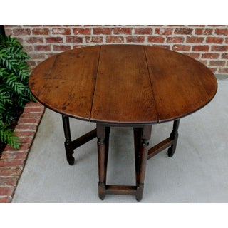 Antique English Traditional Oak Table Drop Leaf Gate Leg Farmhouse Sofa Table Preview