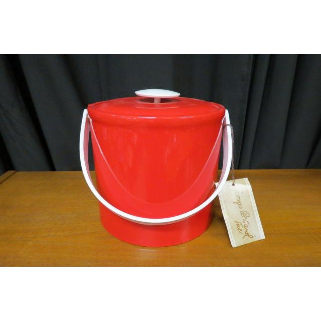 Ceramic Vintage 1970s Georges Briard Mid-Century Modern Red Plastic Ice Bucket For Sale - Image 7 of 7