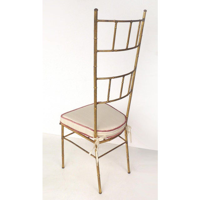 1970s Vintage Bagues Style Italian Gilt Iron High-Back Chairs- A Pair For Sale In Miami - Image 6 of 12