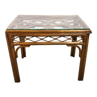 Contemporary Boho Chic Bamboo & Rattan Glass Top Side Table For Sale