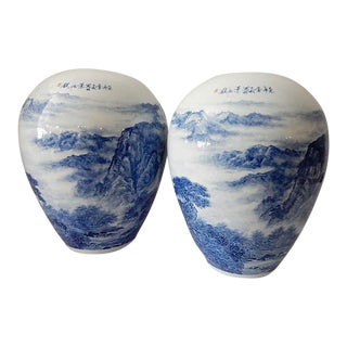 Lg Hand Painted Blue & White Landscape Egg Shaped Vases - a Pair