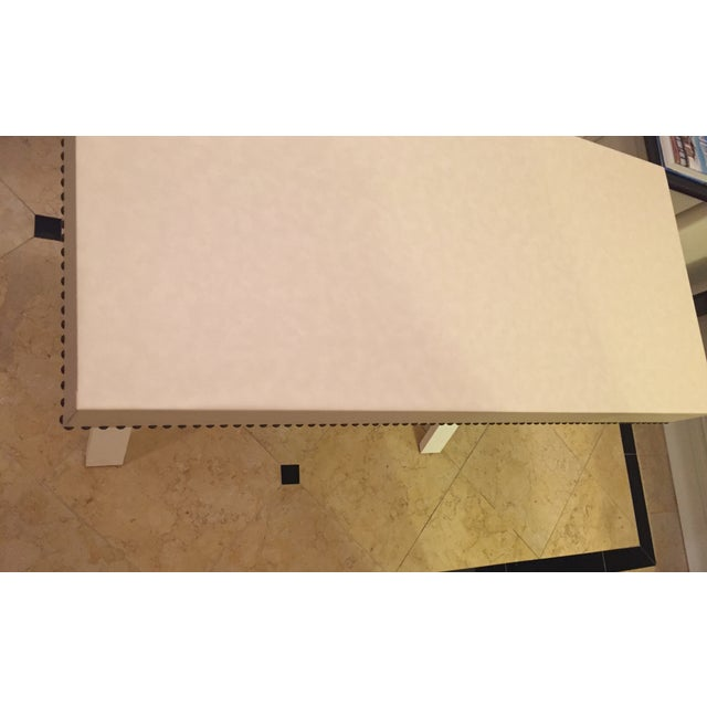 Custom Ivory Leather Desk with Nailhead Trim - Image 9 of 9