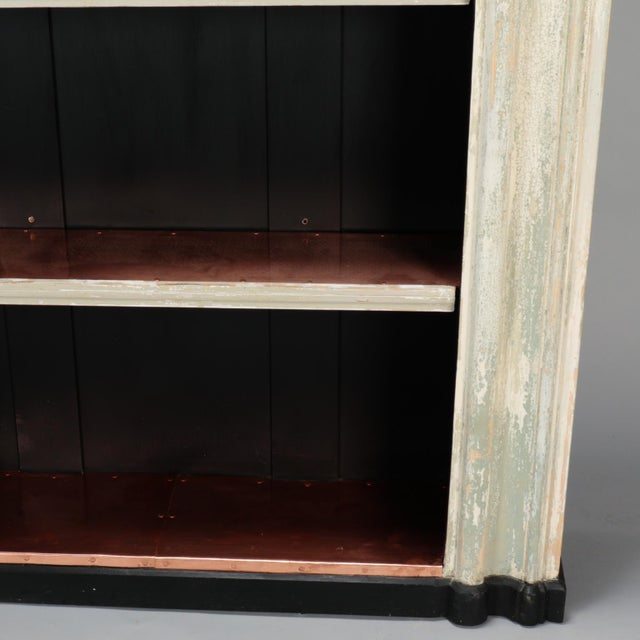 Copper 19th Century Door Frame Bookcase with Copper Lined Shelves For Sale - Image 8 of 11