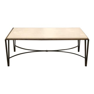 1960s Italian Travertine And Gold Leaf Iron Coffee Table For Sale
