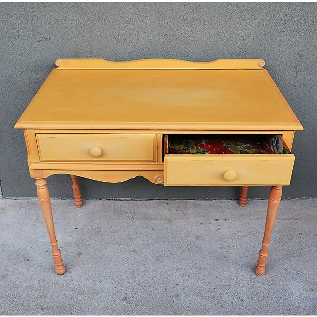 Boho Chic 1910s Folk Art Yellow Painted Console Table With Decoupaged Drawers For Sale - Image 3 of 11