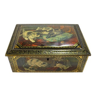 Antique Tin Candy Box W Victorian Kittens Lithograph For Sale