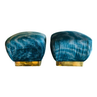Vintage Hollywood Regency Aqua Velvet & Brass Poufs Ottomans Benches -A Pair For Sale