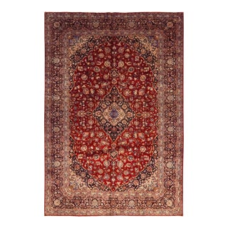 One-Of-A-Kind Persian Hand-Knotted Area Rug, Carnelian, 9 X 13' 3 For Sale
