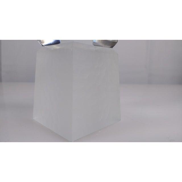Beveled Crystal Glass Obelisk Paperweight - Image 4 of 5