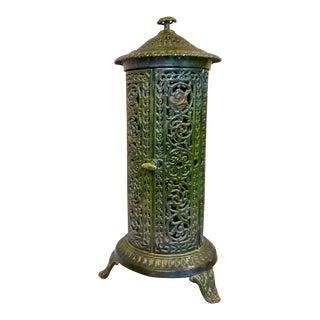 Decorative French Art Nouveau Enameled Cast Iron Antique Parlor Heater Stove For Sale
