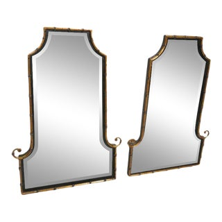 Hollywood Regency Style Faux Bamboo Decorator Wall Mirrors - a Pair