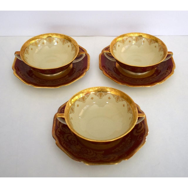 Heinrich and Co. Selb H & C Bavaria German Porcelain Red and Gold Encrusted Handled Soup Bowl and Saucer - Set of 3 For Sale In Sacramento - Image 6 of 13