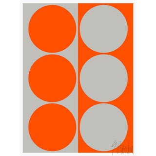 "Dynamic Pair Orange and Gray Fine Art Print 14"" X 20"" by Liz Roache For Sale"