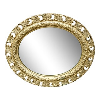 Antique French Victorian Rococo Giltwood Ornate Plaster Oval Mirror For Sale