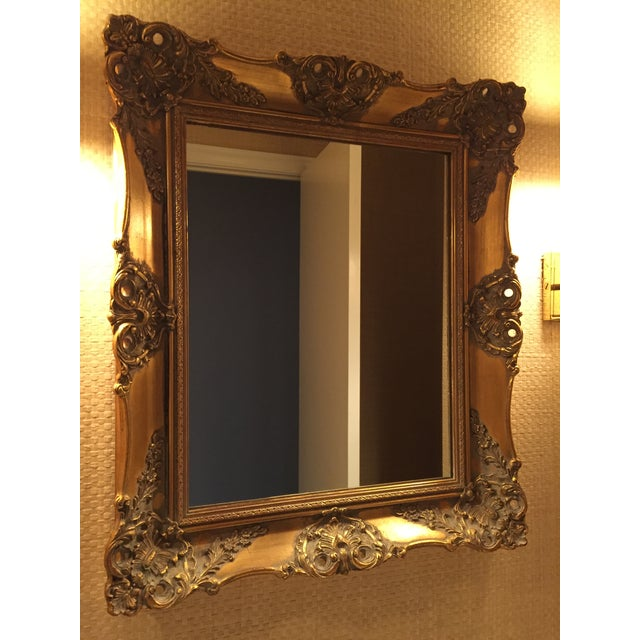 1970's Vintage French Gilded Gold Framed Mirror For Sale - Image 9 of 10