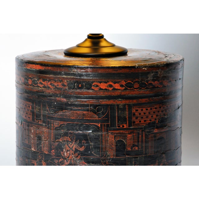 Bamboo Betel Nut Box Lamp For Sale - Image 7 of 11