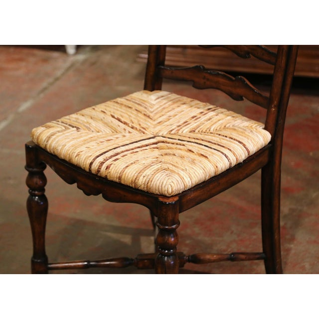 Country French Carved Walnut Ladder Back Chairs With Rush Seat, Set of Six For Sale - Image 4 of 11