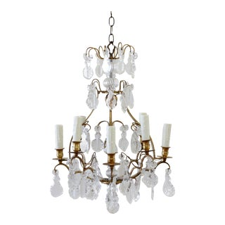 Vintage Brass Chandelier With Crystals For Sale