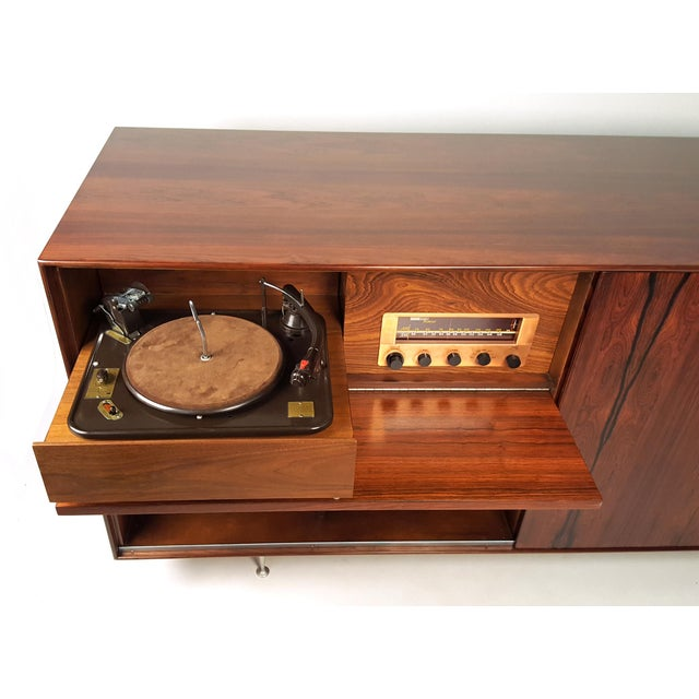 Aluminum George Nelson Brazilian Rosewood Thin Edge Stereo Cabinet For Sale - Image 7 of 11