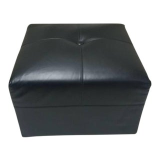 Minotti Black Leather Rolling Ottoman For Sale