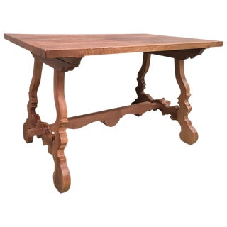 Early 20th Century Spanish PineTrestle Table With Wood Stretcher For Sale