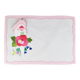 Pink Floral Fabric Placemats and Napkins - Set of 4 For Sale