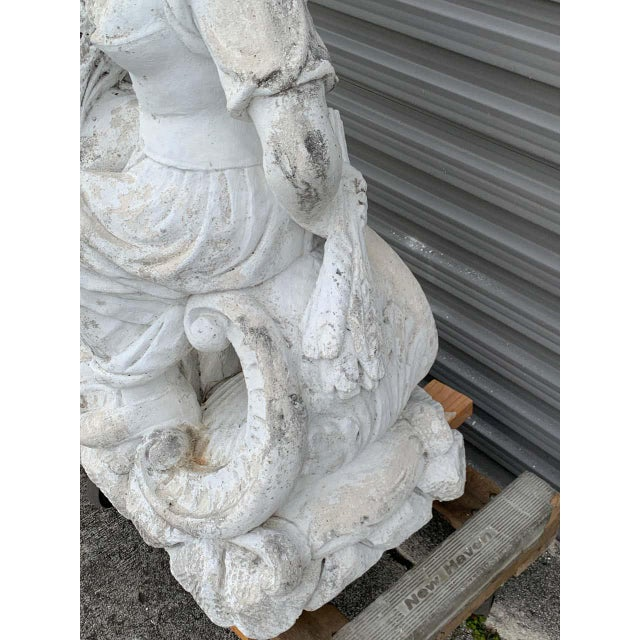 Mid 20th Century Large Versailles Style Cast Stone Statue of 'Harvest' on a Pedestal Base For Sale - Image 5 of 12