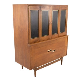 Merton Gershun for American of Martinsville Mid Century 5 Drawer Walnut and Black Highboy Dresser For Sale