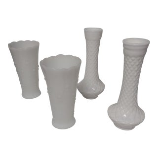 Milk Glass Vases - Set of 4 For Sale