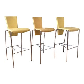 Modern Arper Leather Stilleto Chairs- Set of 3 For Sale