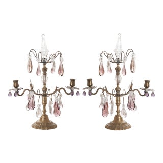 Mid 19th Century French Brass and Crystal Girandoles - a Pair For Sale