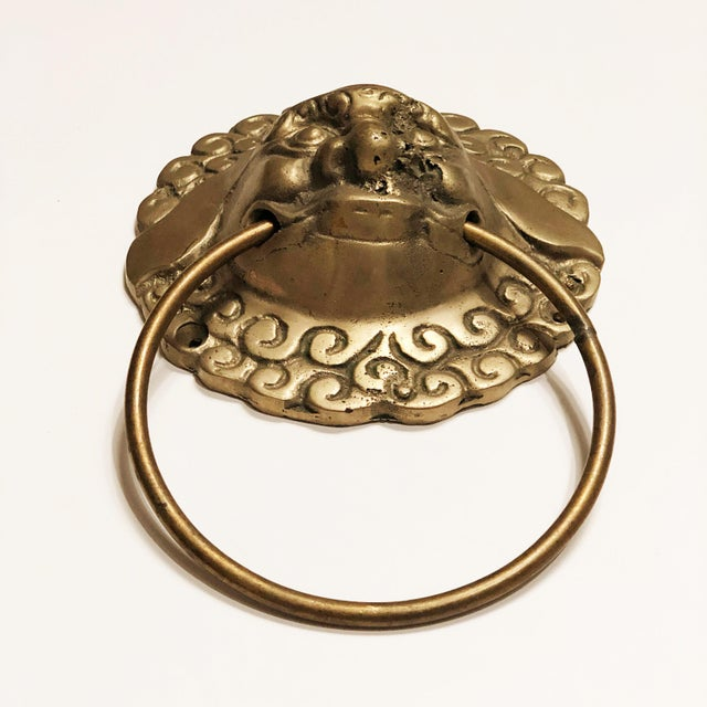 Asian Vintage Mid Century Brass Foo Dog Door Knocker or Towel Ring For Sale - Image 3 of 5