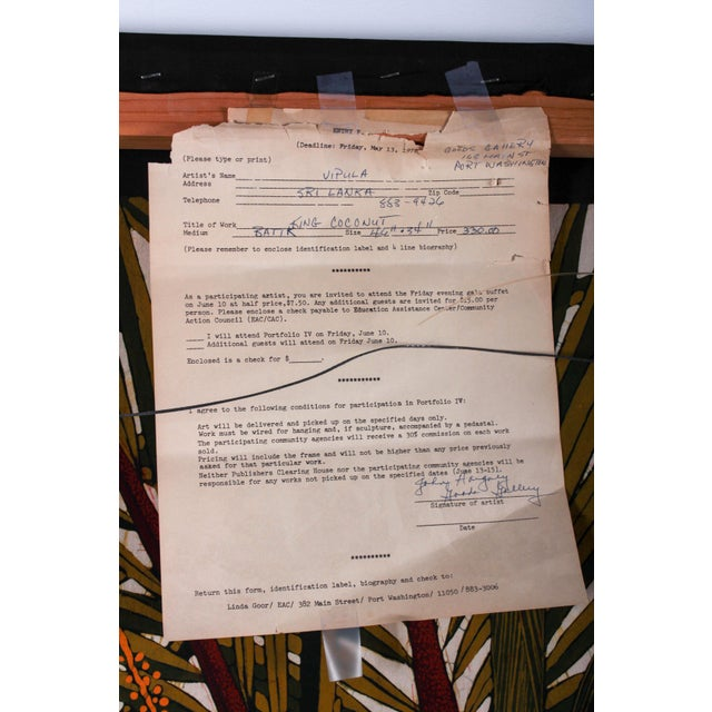 "Artist:Vipula Dharmawardena Title: ""King Coconut"" Dimensions:48'' X 34'' Medium: Batik. Mounted for hanging on a wooden..."